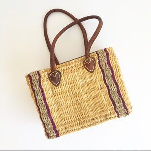 Handmade Wicker and Leather Bucket Bag